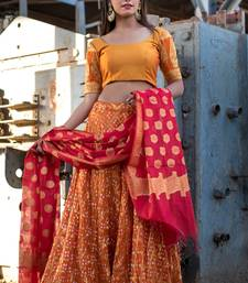 orange woven art silk readymade lehenga cholis