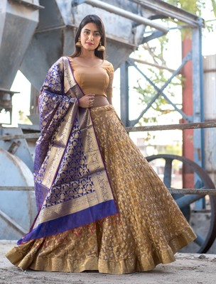 beige woven art silk bandhani readymade lehenga cholis