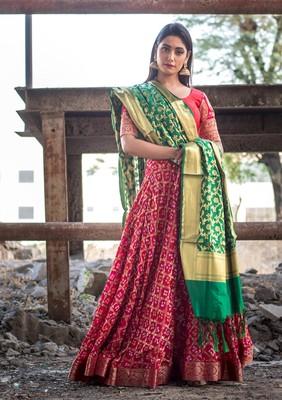 magenta women art silk bandhani readymade lehenga choli