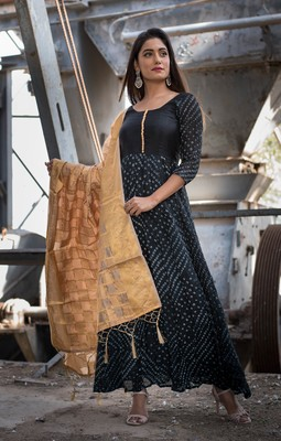 black bandhani print anarkali with golden dupatta