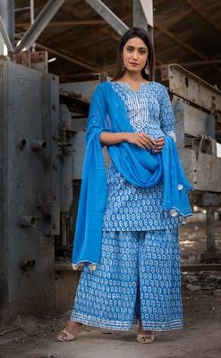 BLUE SHARARA SET WITH DUPATTA