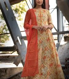 ORANGE BLOCK PRINT DRESS WITH DUPATTA