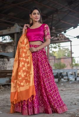 magenta woven art silk bandhani readymade lehenga cholis