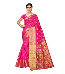 Dark pink woven chanderi silk saree with blouse