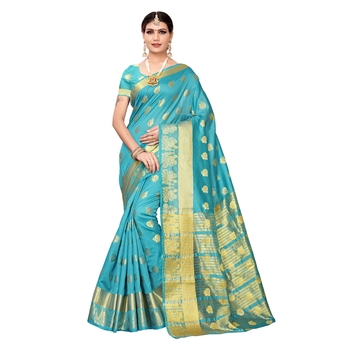 Sky blue woven chanderi silk saree with blouse