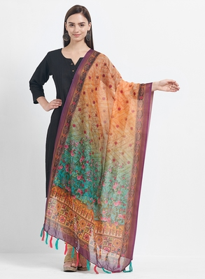 Orange Printed Chanderi Silk Dupatta