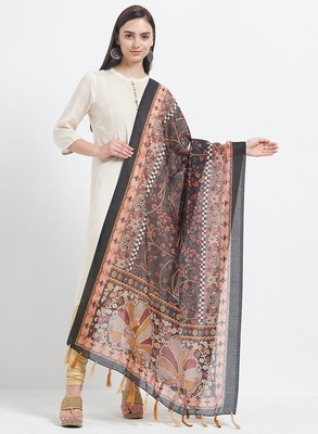 Black Printed Chanderi Silk Dupatta