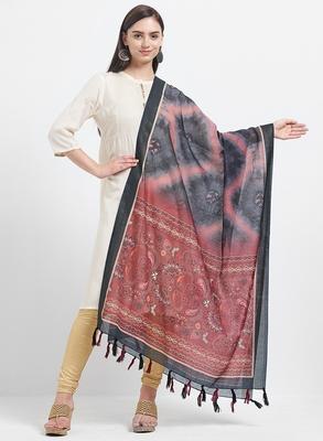 Black Printed Chanderi Silk Dupatta