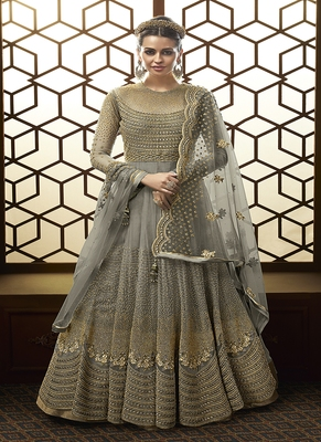 Grey embroidered net Semi Sttiched Anarkali Suit