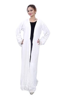 White plain crepe abaya