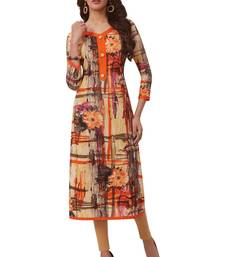 Orange printed cotton cotton kurtis