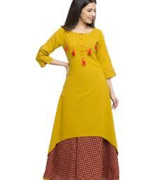 Mustard & Red Women's Cotton Slub Printed Asymmetric Kurta With Skirt