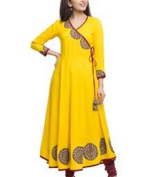 Yellow Women's Cotton Slub Angrakha Style Anarkali Kurta