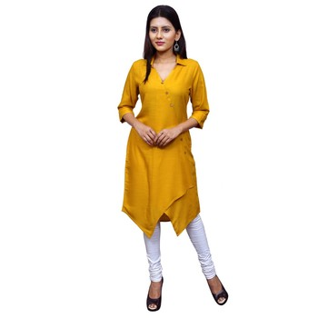 Yellow plain Cotton kurtis