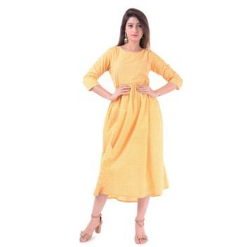 Yellow plain Cotton kurtis