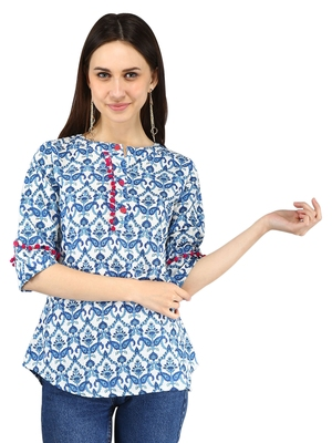 Blue plain Cotton kurtis