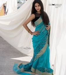 Teal hand woven chanderi silk saree with blouse