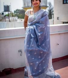 Dark grey hand woven chanderi silk saree with blouse