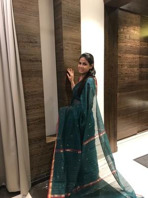 Dark green hand woven chanderi silk saree with blouse