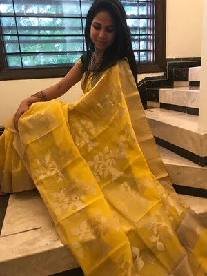 Yellow hand woven chanderi silk saree with blouse