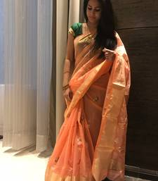 Peach hand woven chanderi silk saree with blouse