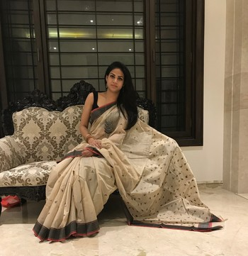 Beige hand woven chanderi silk saree with blouse