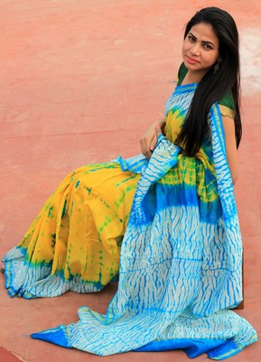 Yellow hand woven chanderi saree with blouse