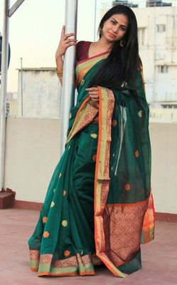 Dark green hand woven chanderi silk saree with blouse