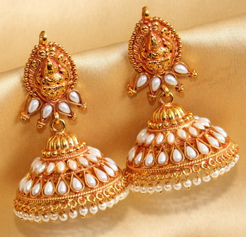 Awesome Antique Lakshmi Pearl Huge Jhumka
