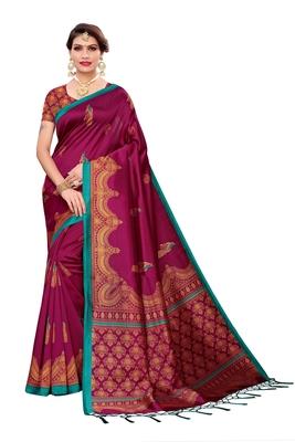Wine printed cotton silk saree with blouse