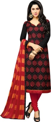 Black embroidered cotton salwar