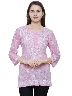 Pink embroidered brasso chiffon tops