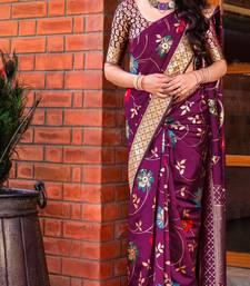 Magenta woven art silk sarees saree with blouse