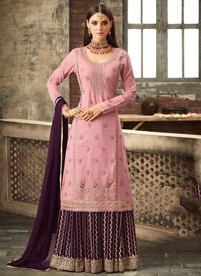 Light-pink embroidered georgette salwar