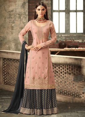 Peach embroidered georgette kameez with palazzo