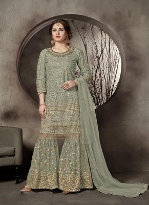 Dark-sea-green embroidered net salwar