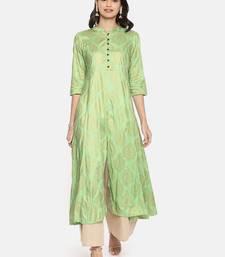 Green printed viscose rayon ethnic kurtis