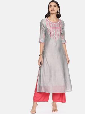Grey embroidered chanderi ethnic kurtis