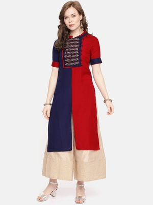 Royal blue embroidered viscose rayon ethnic kurtis
