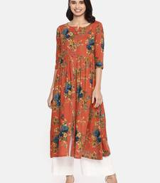 Orange printed viscose rayon ethnic kurtis