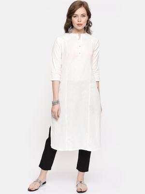 White plain cotton ethnic kurtis