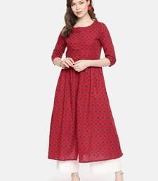 Red printed cotton ethnic kurtis