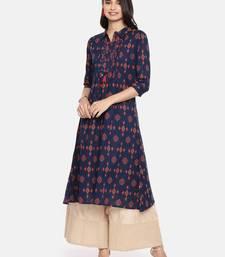 Navy blue printed cotton ethnic kurtis