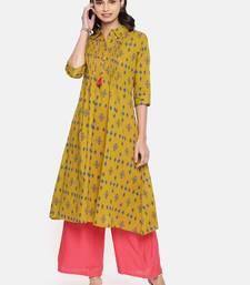 Mustard printed cotton ethnic kurtis