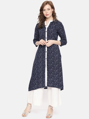 Navy blue printed viscose rayon ethnic kurtis