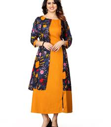 Orange printed rayon long-kurtis
