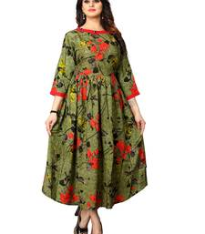 Green printed rayon long-kurtis