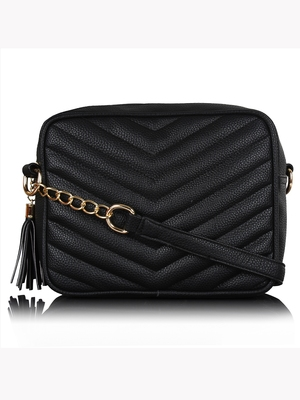 Lychee Bags Black PU Quilted Sling Bag