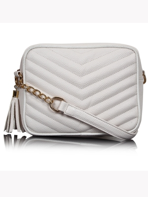 Lychee Bags White PU Quilted Sling Bag