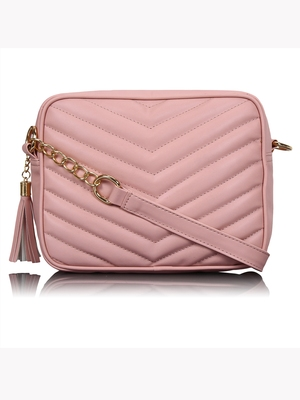 Lychee Bags Peach PU Quilted Sling Bag